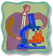 man and microscope bldgs