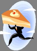 man carrying pie