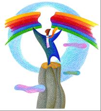 man holding rainbow