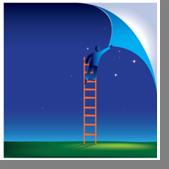 man on ladder peeling sky