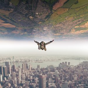 parachutist with 2 sides
